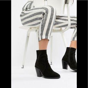 ASOS Design Black suede ankle sock boots 10